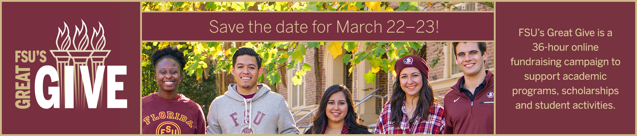 FSU's Great Give is a 36-hour online fundraising campaign — Save the Date for March 22-23