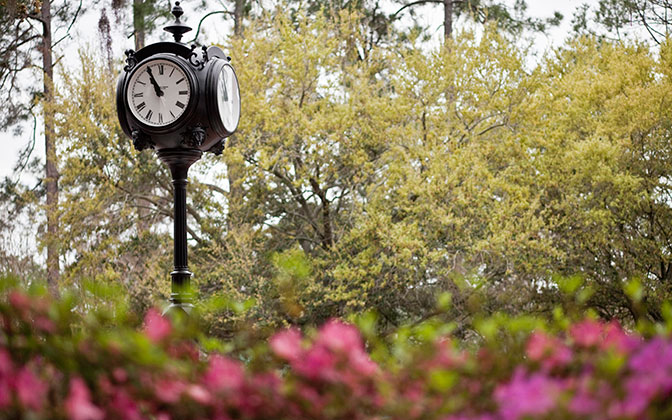 Photo of clock and flowers on campus