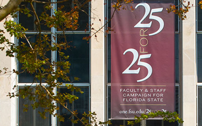 25 for 25 banners on Strozier Library
