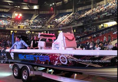 Image of Skeeter boat in an arena