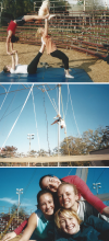 Three images of a group of FSU Circus alumna