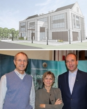 Top Photo: Discovery Hall Rendering; Bottom Photo: Donor Ed Mansouri, FSUCML Director Felicia Coleman and Associate VP for Research Ross Ellington