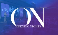 Opening Nights logo over faded background of event